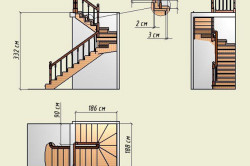 Чертеж двухмаршевой лестницы с забежными ступенями