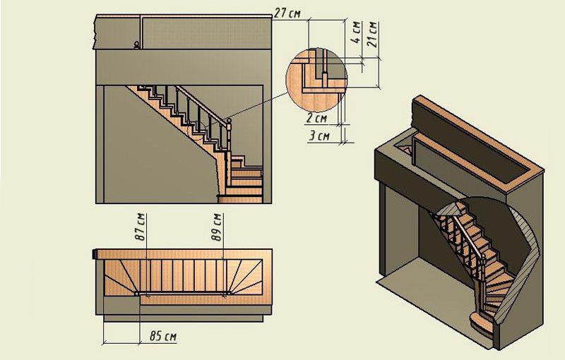 Чертеж межэтажной лестницы