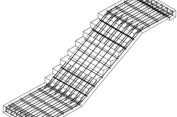 Схема арматурного каркаса для двухмаршевой лестницы с площадкой