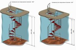 Схема металлической винтовой лестницы