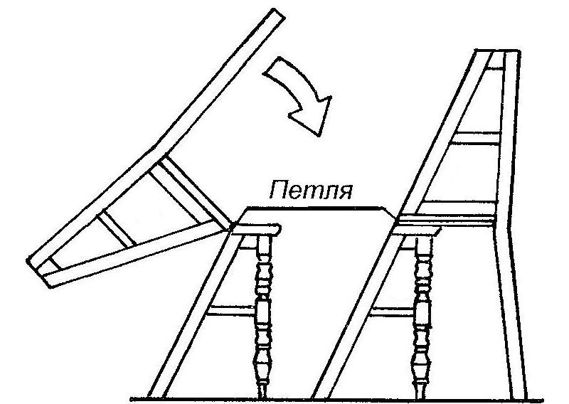 Схема трансформации стула в стремянку