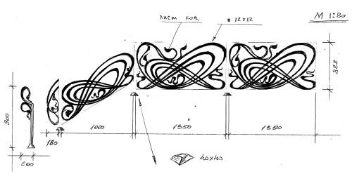 Эскиз кованных перил с расчетами