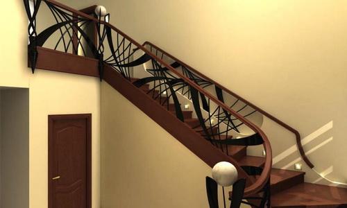Лестница со ступенями прикрепленными к тетивам