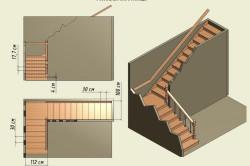 Схема угловой лестницы с размерами