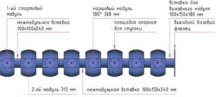 Схема металлического модульного каркаса для лестницы