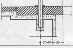 Схема крепления балясин к железобетонной основе ступеней