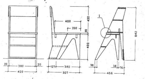 Схема примерных размеров табурета-стремянки