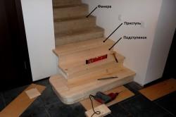 Отделка бетонной лестницы деревом.