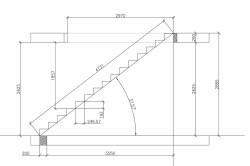 Чертеж лестницы на стальном косоуре с расчетными данными