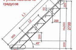 Схема расчета лестницы с углом наклона 45 градусов