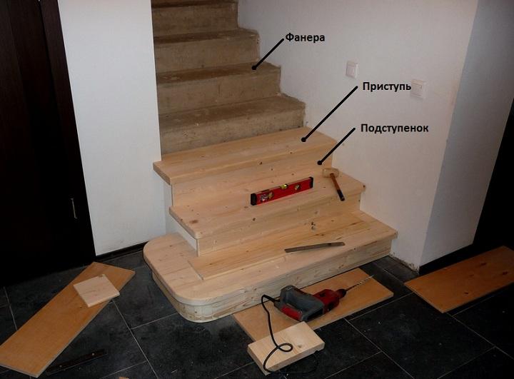 Облицовка деревом бетонной лестницы своими руками