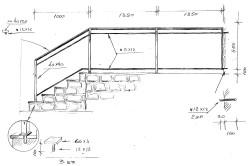 Пример эскиза готовой лестницы с кованными перилами