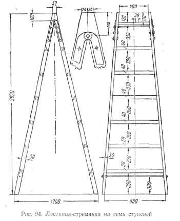 Схема лестницы-стремянки на 7