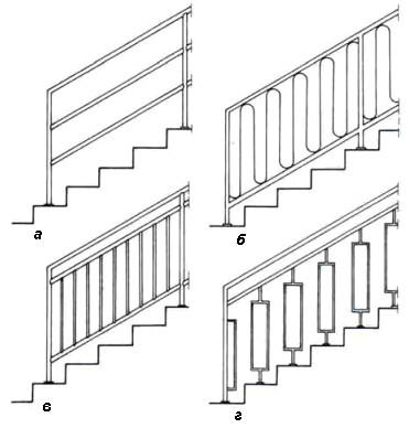 Схема металлических лестничных