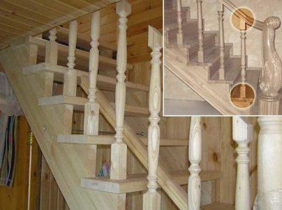 Балясины для деревянных лестниц производятся в основном из сосны, ясеня, березы, бука или дуба